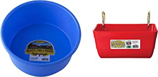 RJ matthews Little Giant P5BERRYBLUE Dura-Flex Plastic Utility Pan, 5-Quart, Berry Blue with Little Giant Fence Feeder with Clips, 11-Inch, Red
