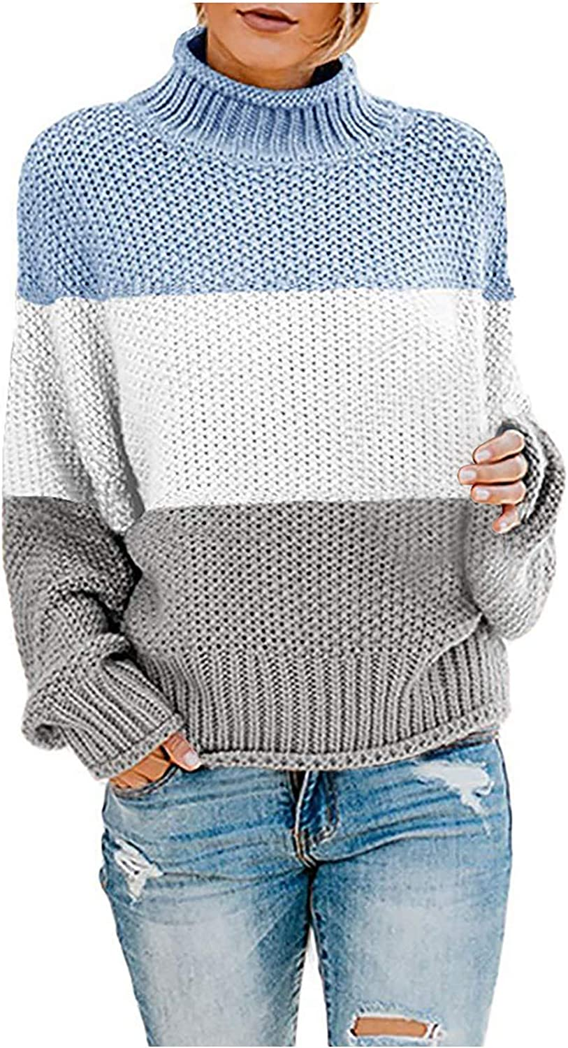 Women's Crew Neck Ranking TOP6 Memphis Mall Long Sleeve Color Casual Sweater Block Pu Knit