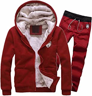 Men's Winter Fleece Lined Hoodies Sweat Suit Thicken Tracksuit Set Coat + Pants Sport Set
