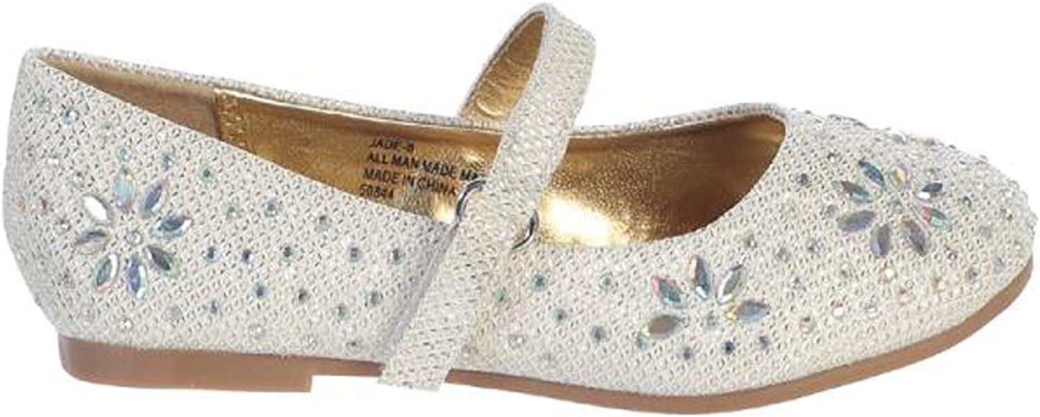 Girl Off-White Ivory Glitter Floral Stud Flat Shoes Rhinestones Toddler Youth Kids