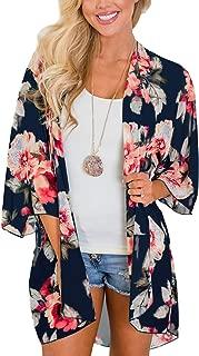 Women's Flowy Chiffon Kimono Cardigan Boho Style Beach Cover Up Casual Loose Top