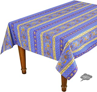 "58x84"" Rectangular Lisa Blue Cotton Coated Provence Tablecloth by Le Cluny"