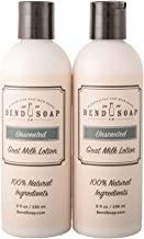 Bend Soap Company Natural Goat Milk Lotion - Paraben Free, Non-GMO Moisturizer For Face, Hands and Body - For Everyone (Men, Women, Kids) (Unscented), 2 Bottles