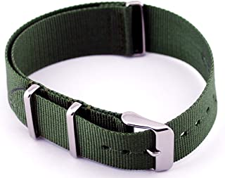 NATO Nylon Green Ballistic 3 Ring 22mm Watch Replacement Strap