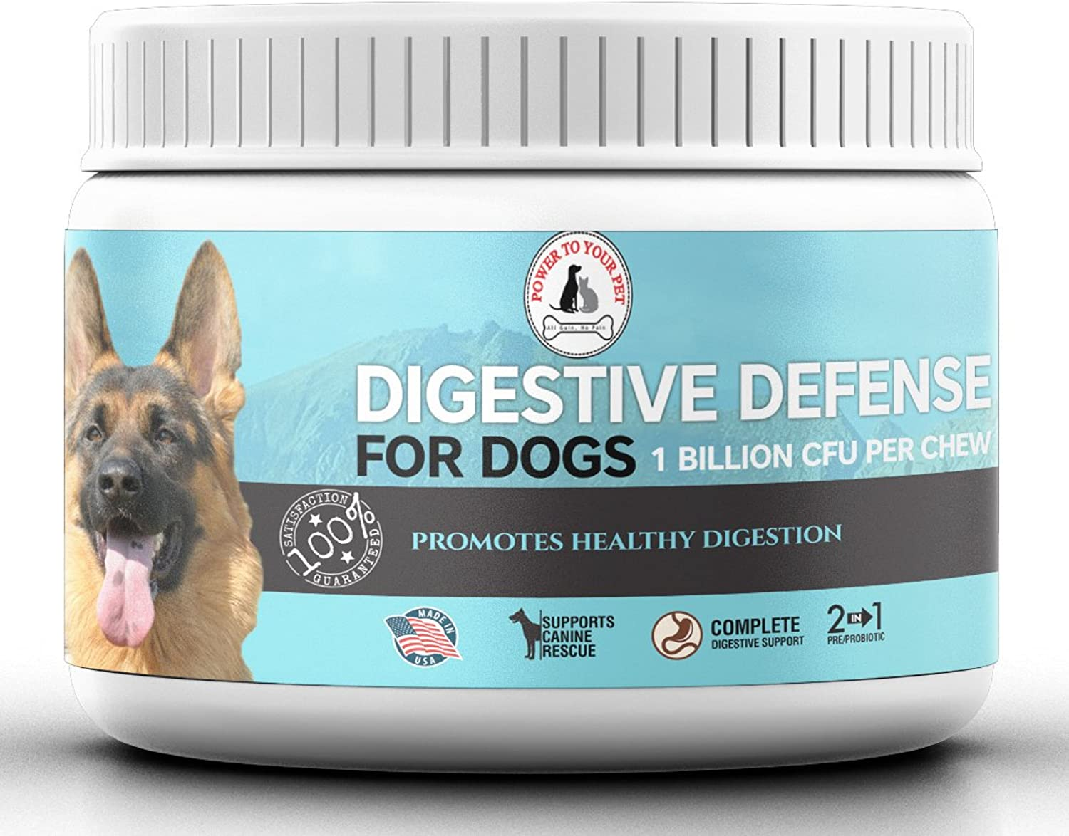 Digestive Defense 3in1 Chewable Probiotics for Dogs with Prebiotic and Enzymes for Total Support Reduces Gas, Bloating & Diarrhea Supports Dog Rescue Up to 4 Billion CFU's 120 Chews Bottle