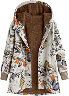 Womens Winter Warm Quilted Lightweight Jackets Outwear Floral Print Button Pockets Vintage Plush Plus Size Hooded Coats