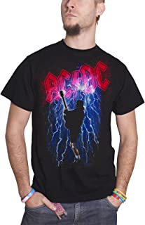 AC/DC T Shirt Thunderstruck Angus Lightning Band Logo Official Mens Black