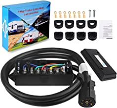 WATERWICH Heavy Duty 7 Way Trailer Plug Cord with 7 Gang Junction Box 6 Feet Harness Inline Copper Blade Wire Connector Weatherproof for RV Tow Truck Commercial Vehicle (6 Feet with Junction Box)