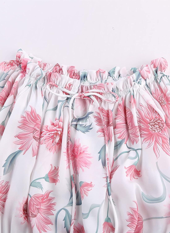 BLENCOT Women's 3/4 Ruffle Sleeve Off Shoulder Chiffon Blouse Summer Floral Print Casual T Shirts
