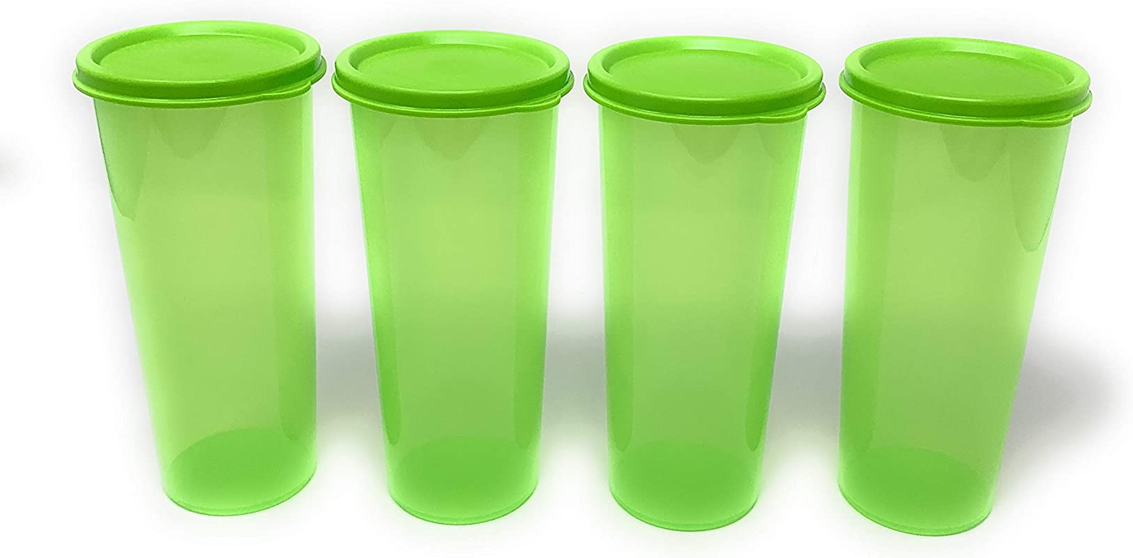 Tupperware Tumblers 16 Ounce Set Of 4 W Seals Green
