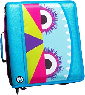 Case-it Z-176-ME Monster Eye Zipper Binder, 1.5 Inch D-Rings, Shoulder Strap, Light Blue and Purple
