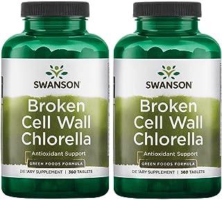 Swanson Broken Cell Wall Chlorella 500 mg 360 Tabs 2 Pack