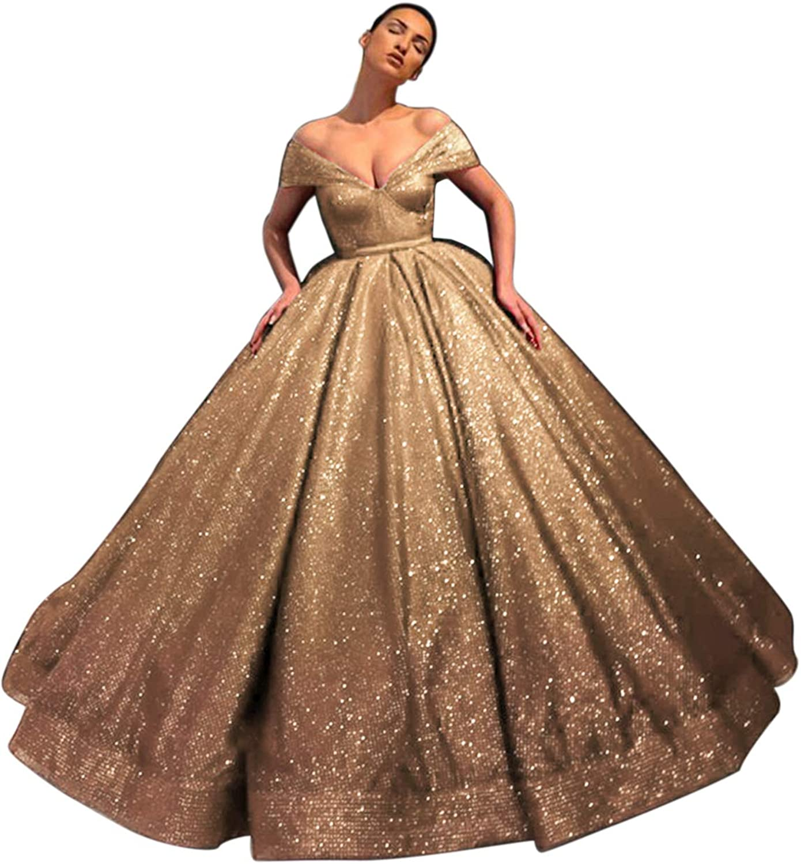 APLbridal Women's Off Shoulder Glitter Dress Neck Ball Credence V SEAL limited product Go Prom