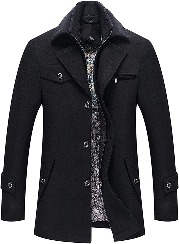 Men's Winter Removable Collar Single Breasted Heavyweight Wool Blend Walker Coats