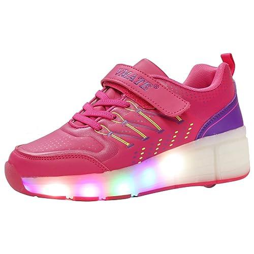 VMATE PU Boy Girl LED Light Up Roller Double Single Wheel Skate Sneaker Sport Shoes Dance