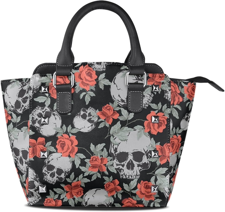 My Little Nest Women's Top Handle Satchel Handbag Uman Skulls and Vintage pink Ladies PU Leather Shoulder Bag Crossbody Bag