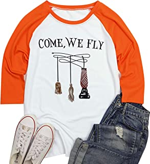 UNIQUEONE Come We Fly Halloween T-Shirt Women Hocus Pocus Witch 3/4 Sleeve Baseball Shirts