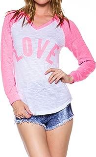 A.S Juniors Love Baseball Contrast Long Sleeve V-Neck Tee Shirts