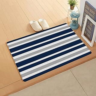 InvisibleWings Doormat Indoor Floor Mat Soft Rug Teen Stripes Navy Blue, Gray and White Kitchen/Bathroom/Bedroom/Front Doo...