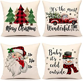 Best Christmas Pillow Covers 18x18 Set of 4 Farmhouse Christmas Decor Red Black Buffalo Plaids Winter Holiday Decorations Throw Cushion Case for Home Couch(Tree, Rustic Truck, Santa Claus, Snowman Quote) Review