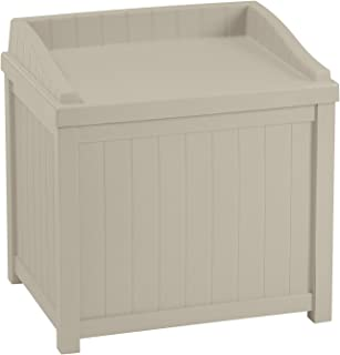 Suncast 22 Gallon Deck Storage Box - Small Water Resistant Outdoor Storage Container for Gardening Tools, Athletic Equipment and More - Store Items on Deck, Patio, Backyard - Taupe