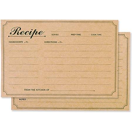 Recipe Cards 4 x 6. Set of 10