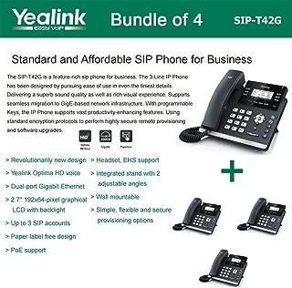 Yealink SIP-T42G - Bundle of 4 Gigabit Color IP Phone 6 Line Keys with LED Wall Mountable