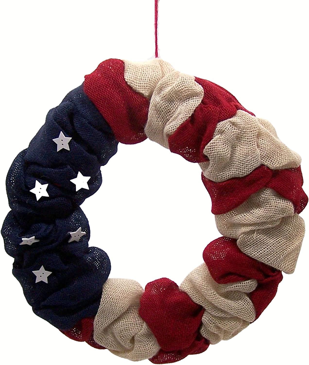 Patriotic Red White and Blue Sales Rare for sale with Wreath Fabric Flag Decorative