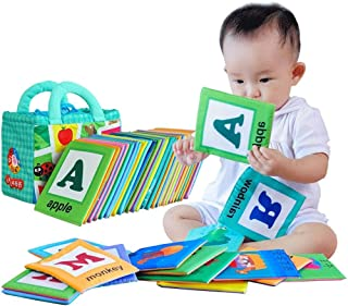 LALABABY Soft Alphabet Cards with Cloth Storage Bag for Babies Infants, Toddlers and Kids 26 Letters ABCs Learning Flash C...