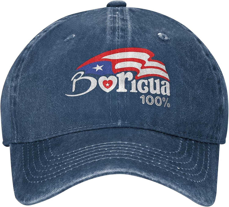 Boricua Puerto Rico Denim Hat Funny Adjustable Jeanet Cap Washed Cotton Black Baseball Caps Sunhat for Men Women