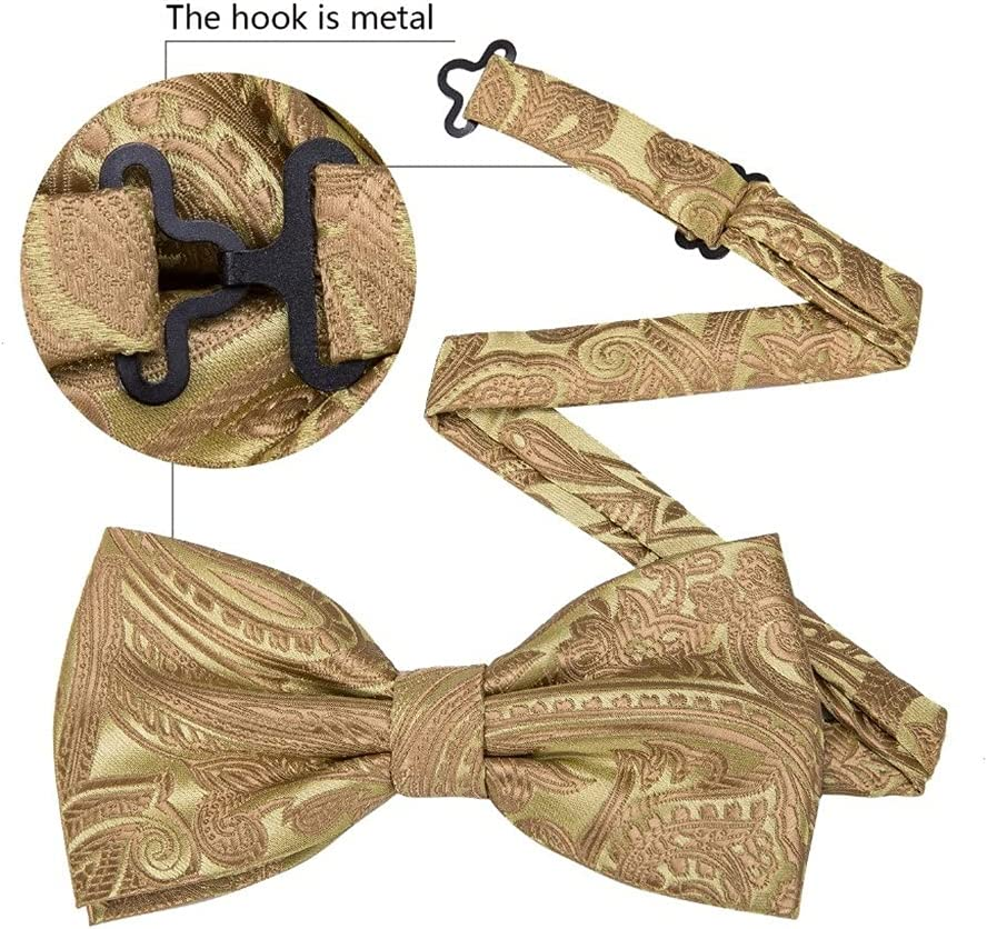 NJBYX Gold Silk Bow Tie For Men Wedding Accessories Adjustable Butterfly Handky Removable Diamond Ring Set (Color : Gold, Size : One size)