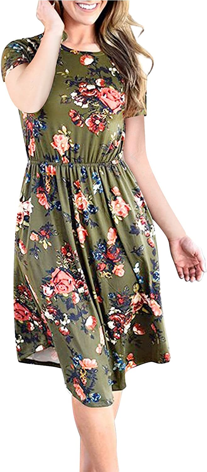 TOTOFITS Women's Summer Vintage Floral Printed Short Sleeve Tunic Casual Midi Dress with Pockets