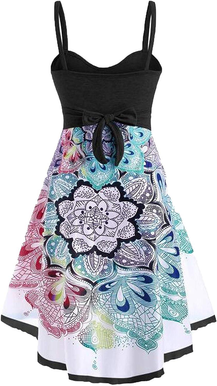 Womens Dresses Sleeveless Party Dress V Neck Beach Skirt Loose Summer Dress Comfort Plus Size Print