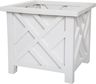 Pure Garden 50-116, White Garden Box Planter-Lattice Design