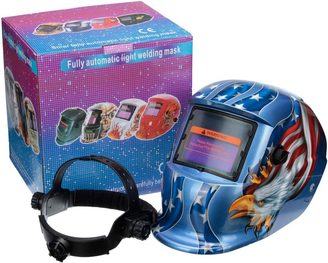 Casco de soldadura, Cascos de soldadura eléctrica de oscurecimiento automático solar/la tapa del soldador TIG MIG MAG RANGO DE SHADE AJUSTABLE 4/9-13 for la máquina de soldadura,gafas protectoras