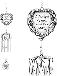"""Best YOUR GIFTS Wind Chimes Engraved Poem I Thought Today Angel Wings Enfold a Heart and Shining Teardrop Diamonds-As Souvenirs Condolence in Loving Memory Suncatcher, 15"""", White Review"""