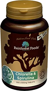 Rainforest Foods 500mg Organic Combined Chlorella and Spirulina Tablets - Pack of 300