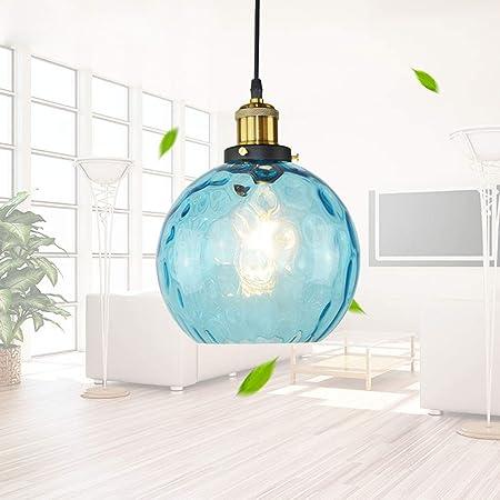 WENY Moderne Verre LED Lampe Suspendue Bleu Globe 1 Lumière Suspension pour Bar Cuisine Salle À Manger Et Plus