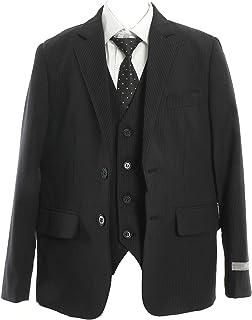 男子 フォーマル 子供スーツ(ブラック?ピンストライプ/2つボタン/スリーピース) 5点セット(ジャケット?ズボン?ベスト?ホワイトカッター?ネクタイ)