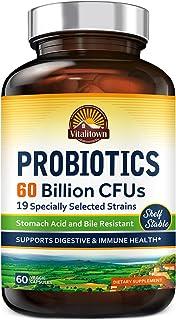 Vitalitown Probiotics + Prebiotics | 60 Billion CFUs 19 Strains | 60 Delayed Release Veg Caps | Shelf Stable, Stomach Acid...
