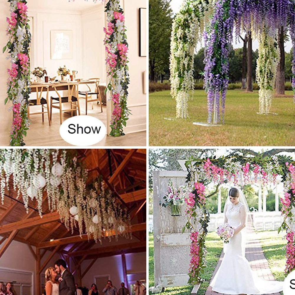 2Pcs Artificial Flowers Vine 2M//7ft Fake Wisteria Hanging Vine Flower Vine Garlands for Wall Decoration Home Wedding Garden Party Decor Pink