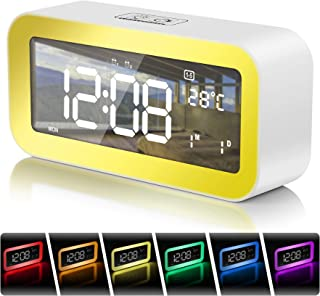 """Digital Alarm Clock Wake-up Light, 6.5"""" LED Display Clock Colorful Night Light, Dual Alarms with Snooze&Dimmer,25 Alarm Tones,Sunset Simulation,Workday Mode,2 USB Chargers, USB Port and Memory Battery"""