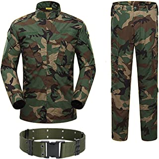 H World Shopping Military Tactical Mens Hunting Combat BDU Uniform Suit Shirt & Pants with Belt Woodland Camo