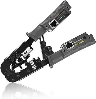 Cable Crimper/Wire Stripper/Wire Cutter, for CAT3/CAT5/CAT6/RJ45/RJ11/RJ12/DEC/RJ22 Standard and RJ45 Pass-Thru Connectors...