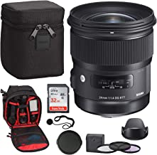 Sigma 24mm F1.4 Art DG HSM Lens for Nikon, Sandisk Ultra SDHC 32GB Memory Card, Ritz Gear Photo Backpack, 77mm Filter Set, Lens Cap and Lens Cap Keeper