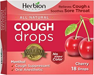 Herbion Naturals Cough Drops with Natural Cherry Flavor, 18 Drops, Oral Anesthetic - Relieves Cough, Throat, Bronchial Irritation, Soothes Sore Mouth, For Adults and Children
