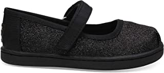 TOMS Black Iridescent Glimmer Tiny Mary Jane Flat 10012554 (Size: 10)