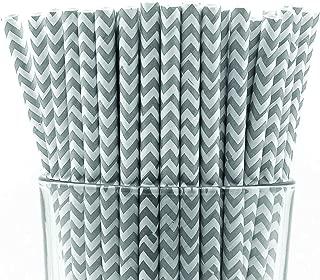 grey chevron straws
