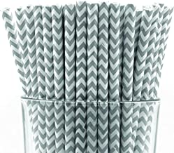 gray chevron paper straws