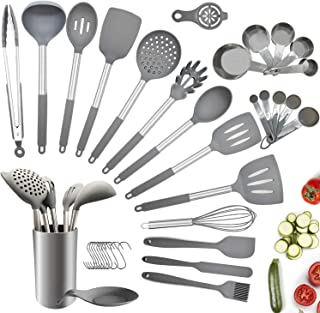 Charlemain Ustensiles de Cuisine en Silicone, 35pcs Ustensiles de Cuisine Antiadhésive, Set de Cuisine Anti-Rayure Poignée...
